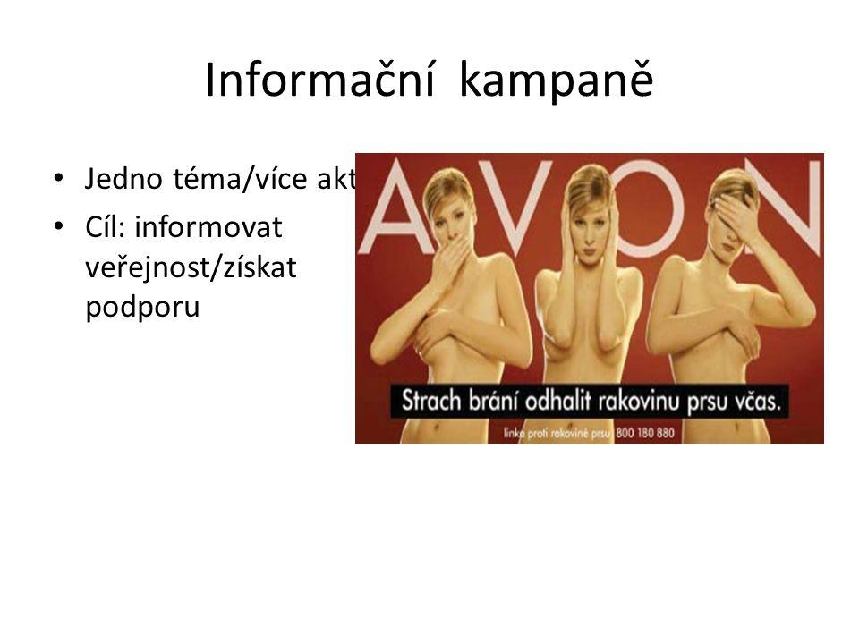 Informační kampaně Jedno téma/více aktérů Cíl: informovat veřejnost/získat podporu
