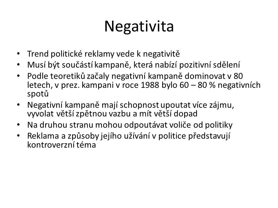 Negativita Trend politické reklamy vede k negativitě Musí být součástí kampaně, která nabízí pozitivní sdělení Podle teoretiků začaly negativní kampaně dominovat v 80 letech, v prez.