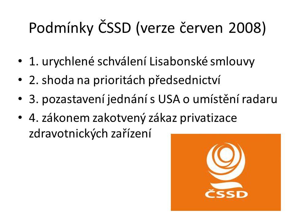 Podmínky ČSSD (verze červen 2008) 1. urychlené schválení Lisabonské smlouvy 2. shoda na prioritách předsednictví 3. pozastavení jednání s USA o umístě