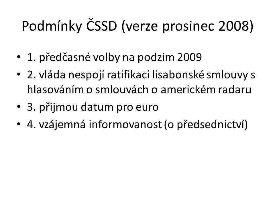 Podmínky ČSSD (verze prosinec 2008) 1. předčasné volby na podzim 2009 2. vláda nespojí ratifikaci lisabonské smlouvy s hlasováním o smlouvách o americ
