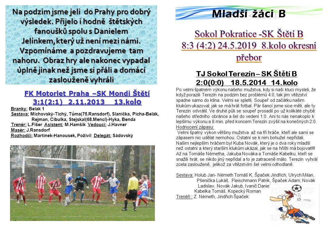 FK Motorlet Praha –SK Mondi Štětí 3:1(2:1) 2.11.2013 13.ko lo Branky: Belak 1 Sestava: Michovský-Tichý, Tůma(75.Ransdorf), Slanička, Pícha-Belák, Rejman, Cibulka, Stejskal(68.Mencl)-Hyka, Benda Trenér: L.Fišer Asistent: M.Hamšík Vedoucí: J.Havner Masér: J.Ransdorf Rozhodčí: Martínek-Hanousek, Poživil Delegát: Sádovský Na podzim jsme jeli do Prahy pro dobrý výsledek.