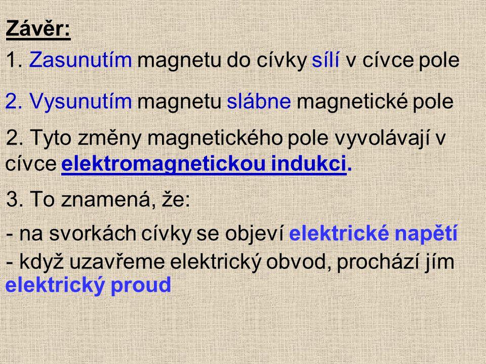 Závěr: 1. Zasunutím magnetu do cívky sílí v cívce pole 2. Vysunutím magnetu slábne magnetické pole 2. Tyto změny magnetického pole vyvolávají v cívce