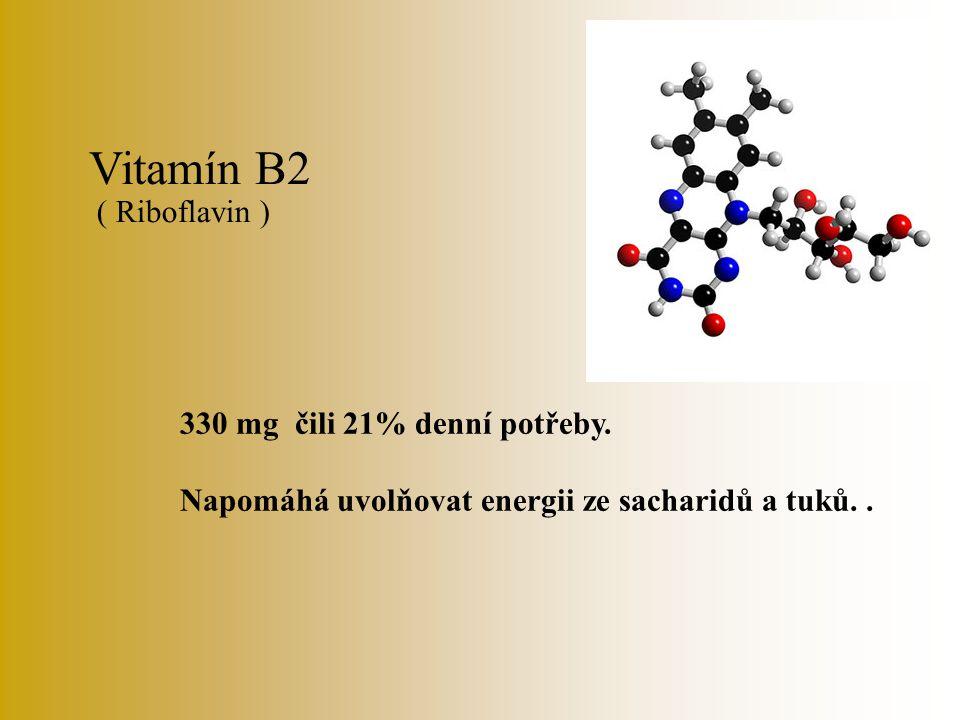 Vitamín B1 30 mg čili 3% denní potřeby. Pomáhá odbourávat sacharidy v tkáních.