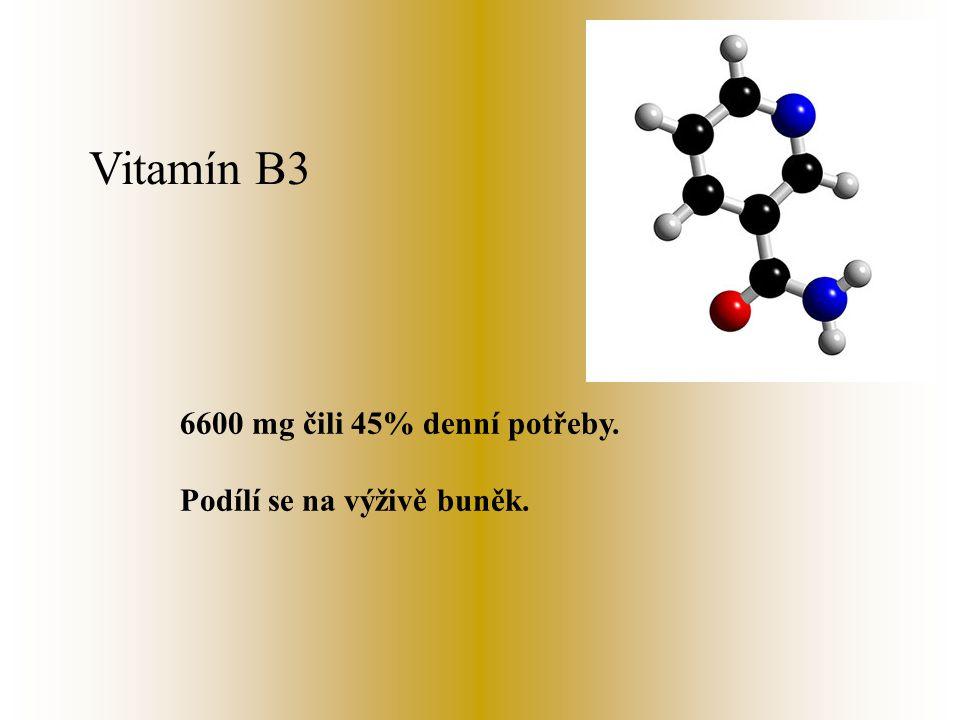 Vitamín B2 330 mg čili 21% denní potřeby. Napomáhá uvolňovat energii ze sacharidů a tuků.. ( Riboflavin )