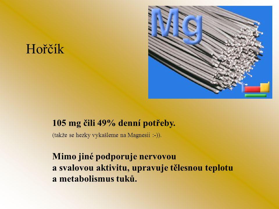 Fosfor 20 mg čili 2% denní potřeby. Taktéž podporuje tvorbu kostí, podílí se na tvorbě bílkovin.
