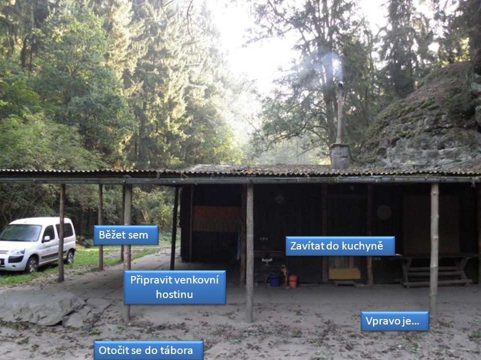 Připravit venkovní hostinu Připravit venkovní hostinu Běžet sem Zavítat do kuchyně Vpravo je… Otočit se do tábora