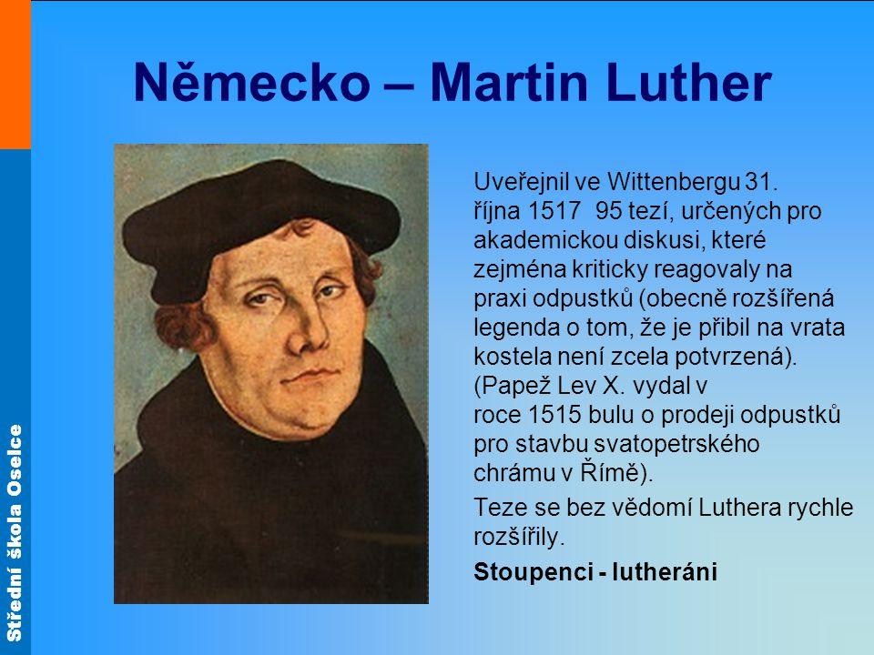 Střední škola Oselce Německo – Martin Luther Uveřejnil ve Wittenbergu 31.