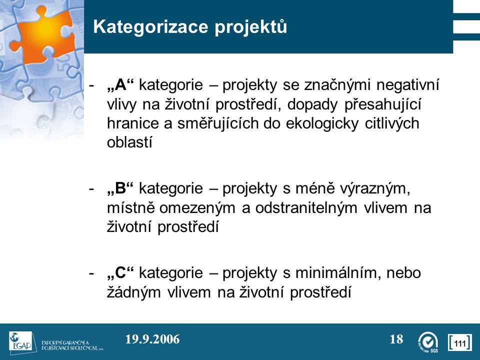 """111 19.9.200618 Kategorizace projektů -""""A"""" kategorie – projekty se značnými negativní vlivy na životní prostředí, dopady přesahující hranice a směřují"""