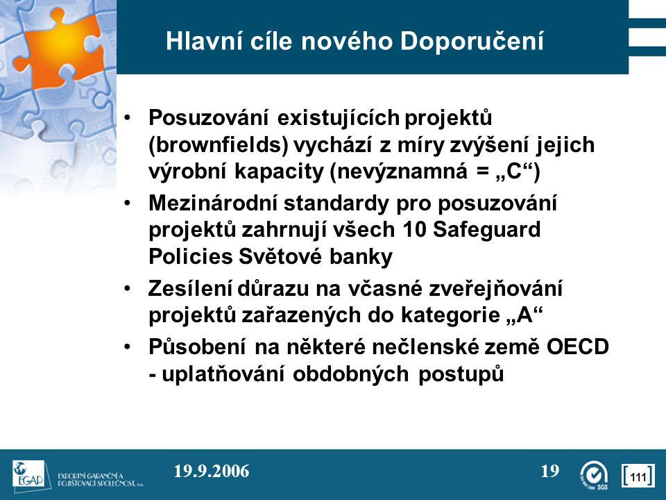 111 19.9.200619 Hlavní cíle nového Doporučení Posuzování existujících projektů (brownfields) vychází z míry zvýšení jejich výrobní kapacity (nevýznamn