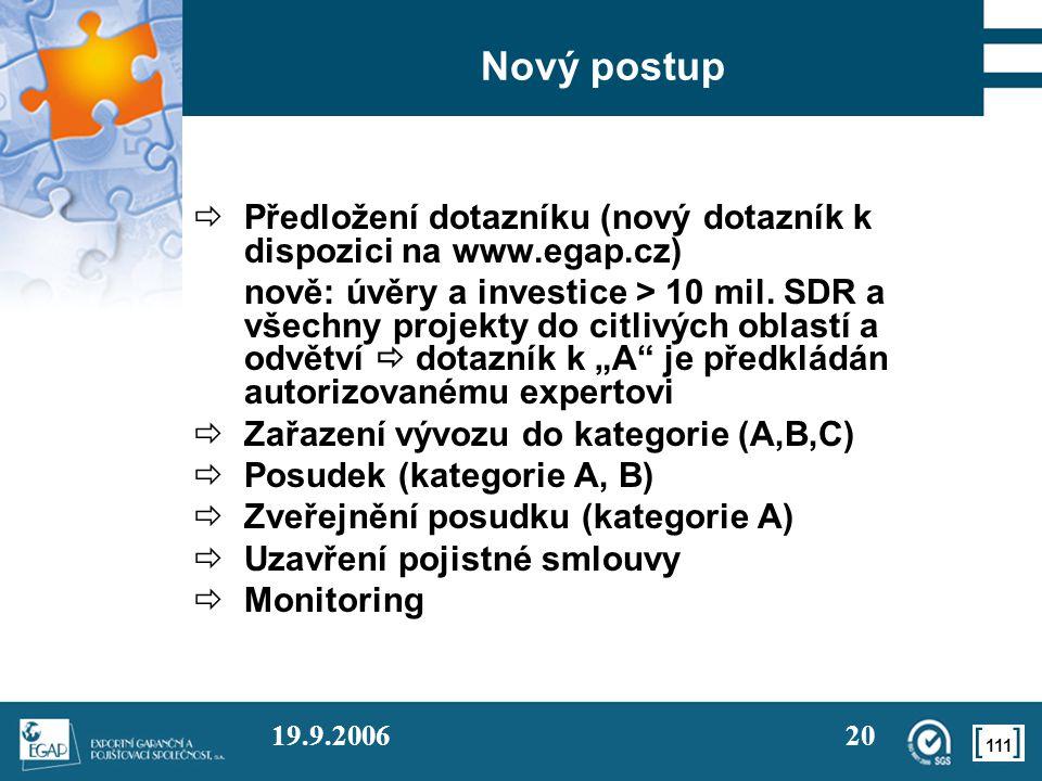 111 19.9.200620 Nový postup  Předložení dotazníku (nový dotazník k dispozici na www.egap.cz) nově: úvěry a investice > 10 mil. SDR a všechny projekty