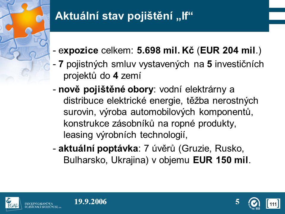 """111 19.9.20065 Aktuální stav pojištění """"If"""" - expozice celkem: 5.698 mil. Kč (EUR 204 mil.) - 7 pojistných smluv vystavených na 5 investičních projekt"""