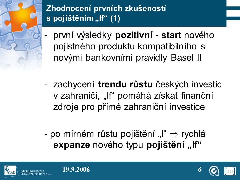 """111 19.9.20066 Zhodnocení prvních zkušeností s pojištěním """"If"""" (1) -první výsledky pozitivní - start nového pojistného produktu kompatibilního s novým"""