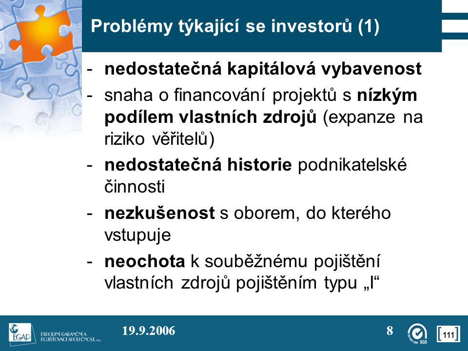 111 19.9.20068 Problémy týkající se investorů (1) -nedostatečná kapitálová vybavenost -snaha o financování projektů s nízkým podílem vlastních zdrojů