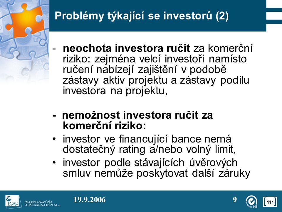 111 19.9.20069 Problémy týkající se investorů (2) -neochota investora ručit za komerční riziko: zejména velcí investoři namísto ručení nabízejí zajišt