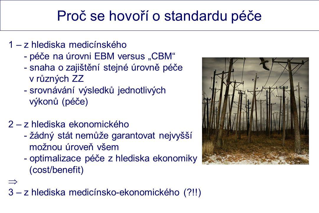 """Proč se hovoří o standardu péče 1 – z hlediska medicínského - péče na úrovni EBM versus """"CBM - snaha o zajištění stejné úrovně péče v různých ZZ - srovnávání výsledků jednotlivých výkonů (péče) 2 – z hlediska ekonomického - žádný stát nemůže garantovat nejvyšší možnou úroveň všem - optimalizace péče z hlediska ekonomiky (cost/benefit)  3 – z hlediska medicínsko-ekonomického ( !!)"""