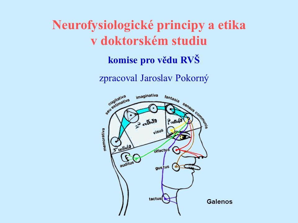 Neurofysiologické principy a etika v doktorském studiu komise pro vědu RVŠ zpracoval Jaroslav Pokorný Galenos