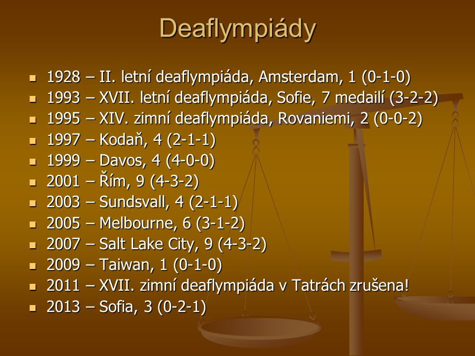 Deaflympiády Deaflympiády 1928 – II. letní deaflympiáda, Amsterdam, 1 (0-1-0) 1928 – II. letní deaflympiáda, Amsterdam, 1 (0-1-0) 1993 – XVII. letní d