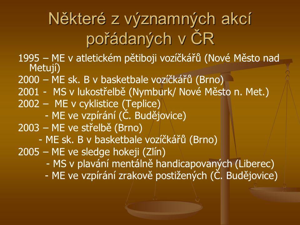 Některé z významných akcí pořádaných v ČR 1995 – ME v atletickém pětiboji vozíčkářů (Nové Město nad Metují) 2000 – ME sk. B v basketbale vozíčkářů (Br
