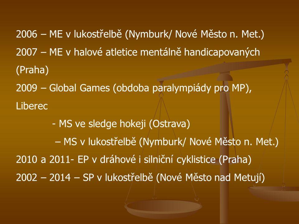 2006 – ME v lukostřelbě (Nymburk/ Nové Město n. Met.) 2007 – ME v halové atletice mentálně handicapovaných (Praha) 2009 – Global Games (obdoba paralym