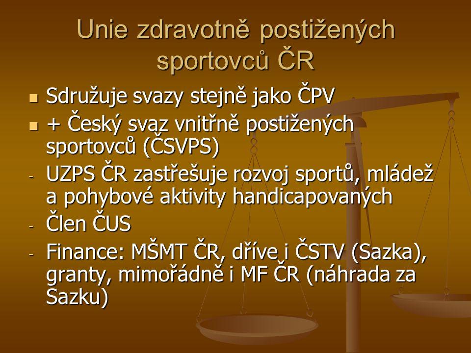 Unie zdravotně postižených sportovců ČR Sdružuje svazy stejně jako ČPV Sdružuje svazy stejně jako ČPV + Český svaz vnitřně postižených sportovců (ČSVP