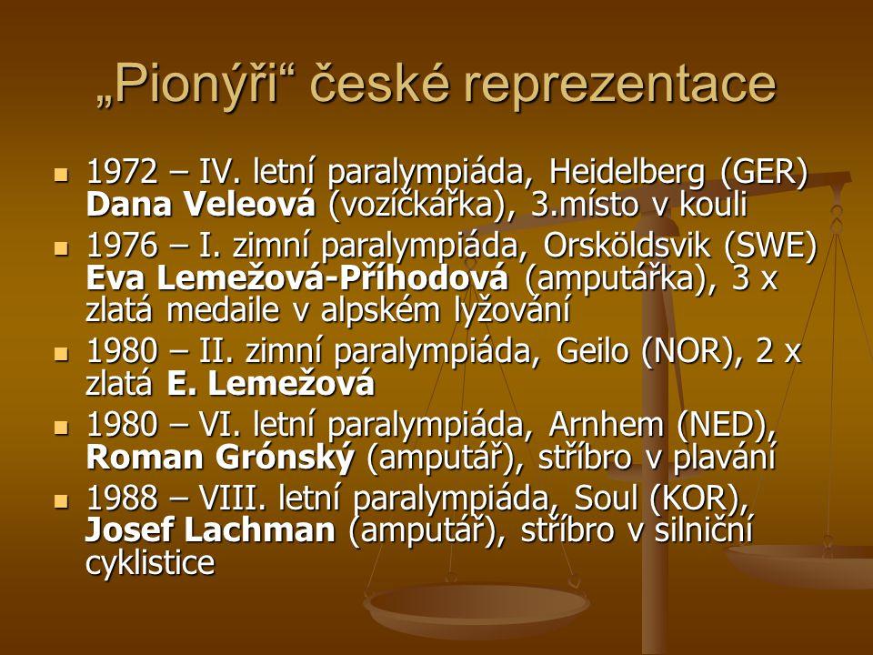 """""""Pionýři"""" české reprezentace 1972 – IV. letní paralympiáda, Heidelberg (GER) Dana Veleová (vozíčkářka), 3.místo v kouli 1972 – IV. letní paralympiáda,"""