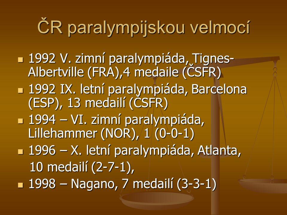 ČR paralympijskou velmocí 1992 V. zimní paralympiáda, Tignes- Albertville (FRA),4 medaile (ČSFR) 1992 V. zimní paralympiáda, Tignes- Albertville (FRA)