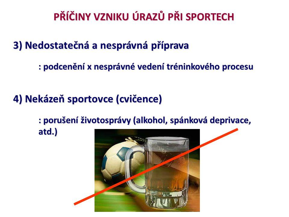 PŘÍČINY VZNIKU ÚRAZŮ PŘI SPORTECH 3) Nedostatečná a nesprávná příprava : podcenění x nesprávné vedení tréninkového procesu 4) Nekázeň sportovce (cviče