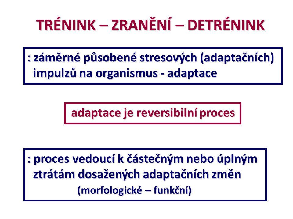 TRÉNINK – ZRANĚNÍ – DETRÉNINK : záměrné působené stresových (adaptačních) impulzů na organismus - adaptace impulzů na organismus - adaptace adaptace j