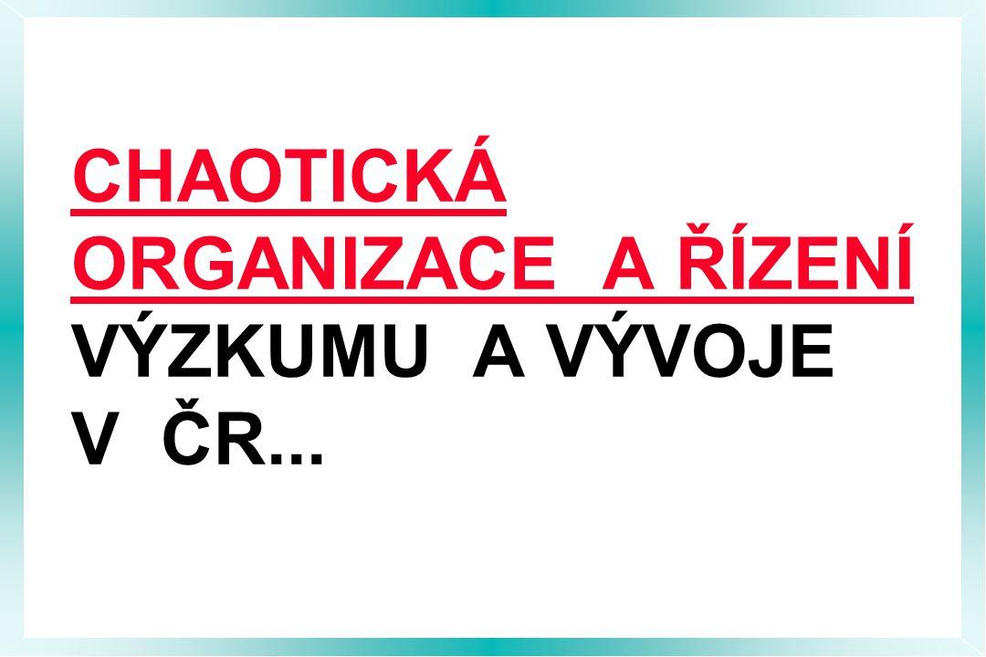CHAOTICKÁ ORGANIZACE A ŘÍZENÍ VÝZKUMU A VÝVOJE V ČR...