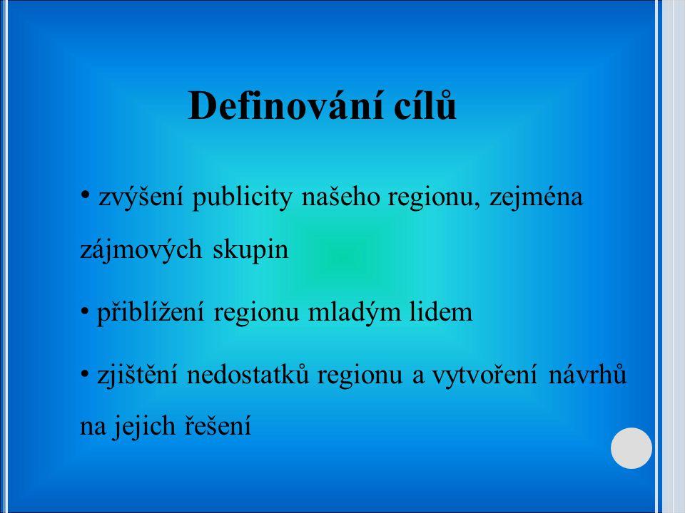 Definování cílů zvýšení publicity našeho regionu, zejména zájmových skupin přiblížení regionu mladým lidem zjištění nedostatků regionu a vytvoření návrhů na jejich řešení