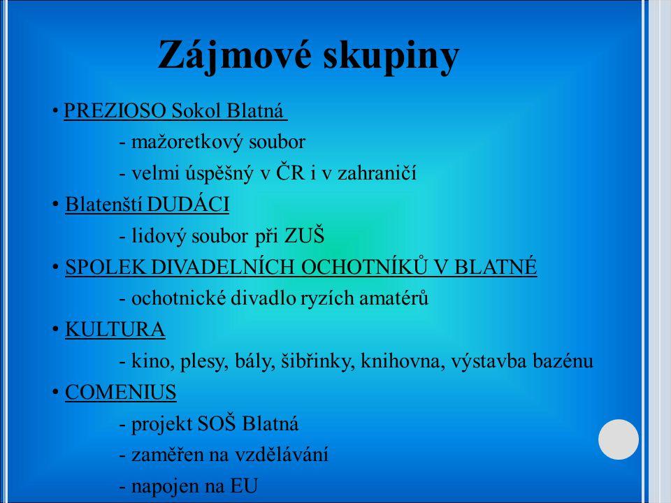 Zájmové skupiny PREZIOSO Sokol Blatná - mažoretkový soubor - velmi úspěšný v ČR i v zahraničí Blatenští DUDÁCI - lidový soubor při ZUŠ SPOLEK DIVADELN