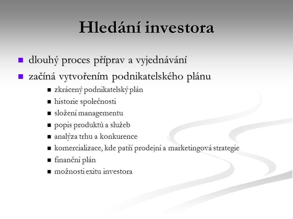 Hledání investora dlouhý proces příprav a vyjednávání dlouhý proces příprav a vyjednávání začíná vytvořením podnikatelského plánu začíná vytvořením po