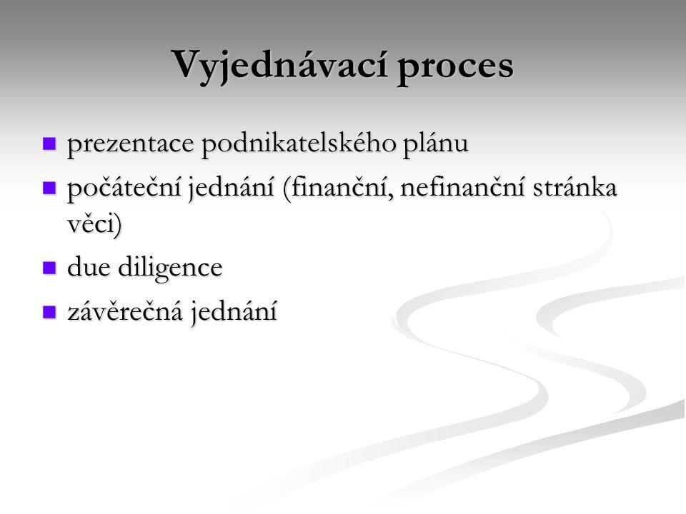 Vyjednávací proces prezentace podnikatelského plánu prezentace podnikatelského plánu počáteční jednání (finanční, nefinanční stránka věci) počáteční jednání (finanční, nefinanční stránka věci) due diligence due diligence závěrečná jednání závěrečná jednání