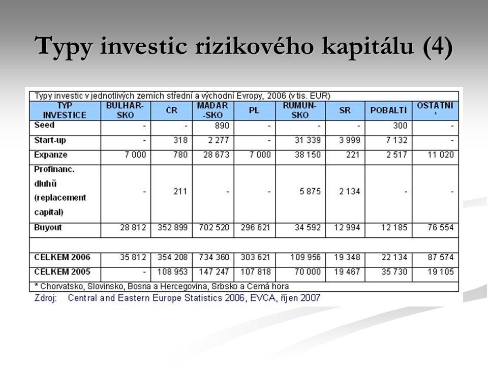 Typy investic rizikového kapitálu (4)