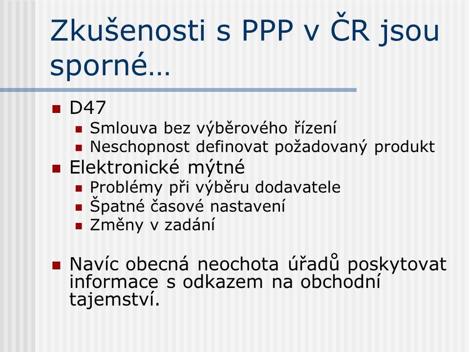 Zkušenosti s PPP v ČR jsou sporné… D47 Smlouva bez výběrového řízení Neschopnost definovat požadovaný produkt Elektronické mýtné Problémy při výběru dodavatele Špatné časové nastavení Změny v zadání Navíc obecná neochota úřadů poskytovat informace s odkazem na obchodní tajemství.