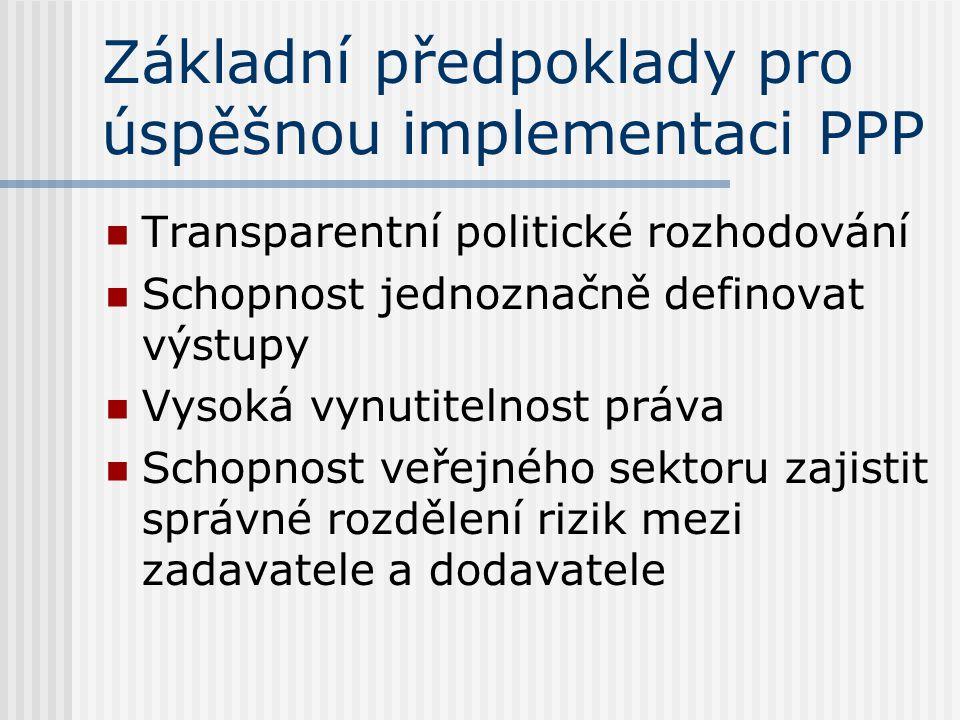 Základní předpoklady pro úspěšnou implementaci PPP Transparentní politické rozhodování Schopnost jednoznačně definovat výstupy Vysoká vynutitelnost práva Schopnost veřejného sektoru zajistit správné rozdělení rizik mezi zadavatele a dodavatele