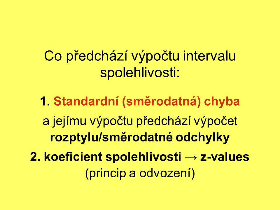 Co předchází výpočtu intervalu spolehlivosti: 1. Standardní (směrodatná) chyba a jejímu výpočtu předchází výpočet rozptylu/směrodatné odchylky 2. koef