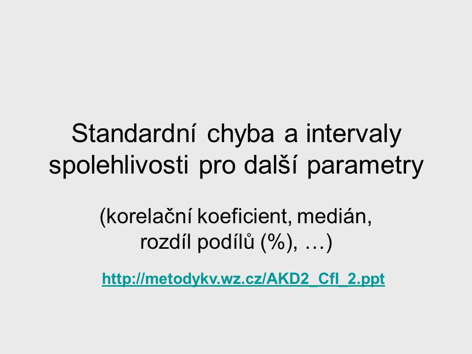 Standardní chyba a intervaly spolehlivosti pro další parametry (korelační koeficient, medián, rozdíl podílů (%), …) http://metodykv.wz.cz/AKD2_CfI_2.p