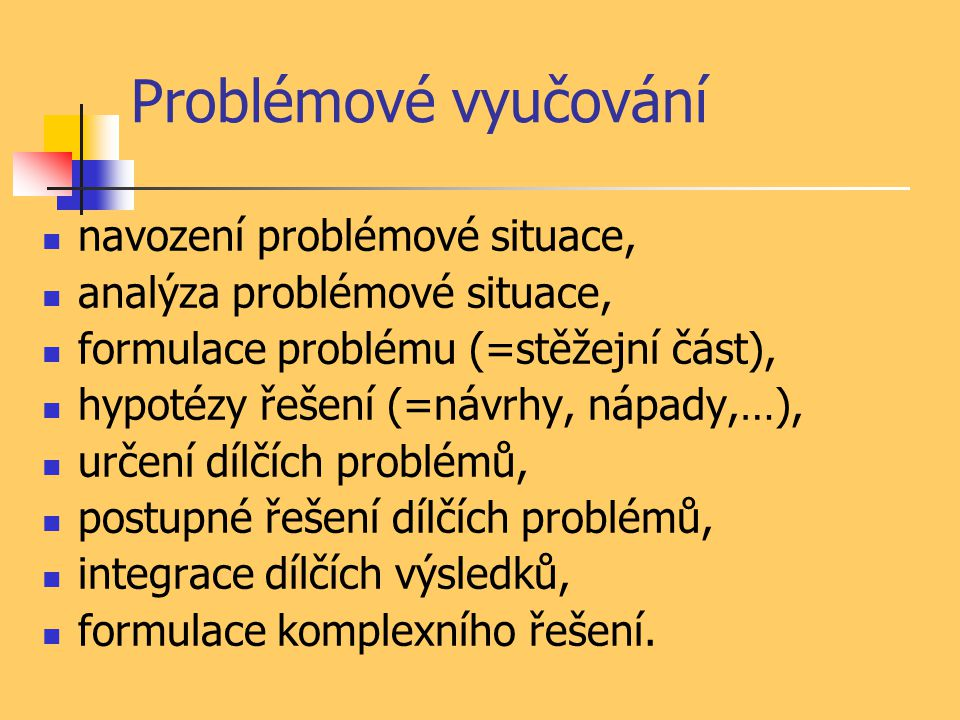 Problémové vyučování navození problémové situace, analýza problémové situace, formulace problému (=stěžejní část), hypotézy řešení (=návrhy, nápady,…)