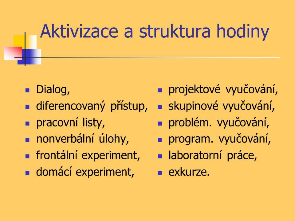 Aktivizace a struktura hodiny Dialog, diferencovaný přístup, pracovní listy, nonverbální úlohy, frontální experiment, domácí experiment, projektové vy