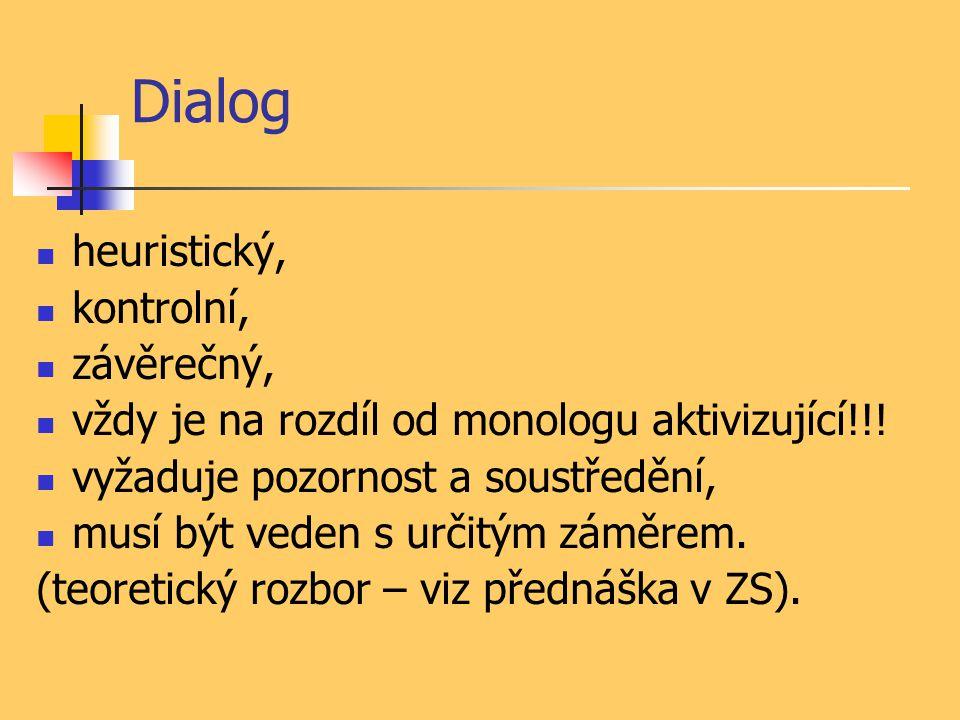Dialog heuristický, kontrolní, závěrečný, vždy je na rozdíl od monologu aktivizující!!! vyžaduje pozornost a soustředění, musí být veden s určitým zám
