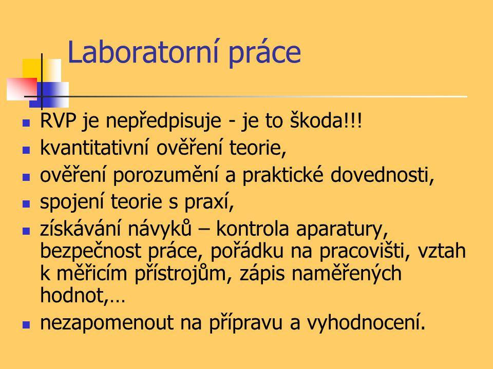 Laboratorní práce RVP je nepředpisuje - je to škoda!!! kvantitativní ověření teorie, ověření porozumění a praktické dovednosti, spojení teorie s praxí