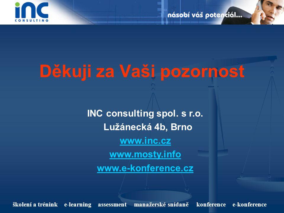 školení a trénink e-learning assessment manažerské snídaně konference e-konference Děkuji za Vaši pozornost INC consulting spol. s r.o. Lužánecká 4b,