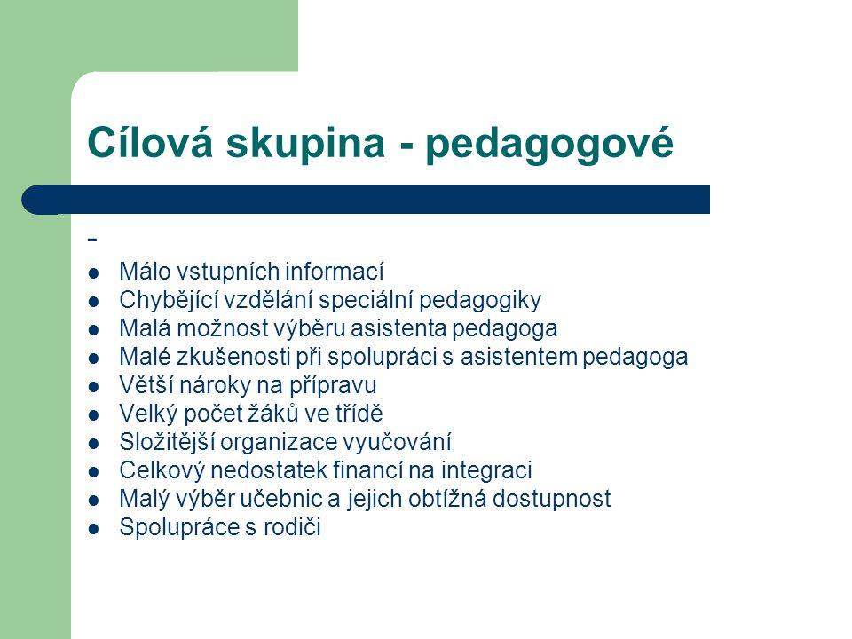 Cílová skupina - pedagogové - Málo vstupních informací Chybějící vzdělání speciální pedagogiky Malá možnost výběru asistenta pedagoga Malé zkušenosti