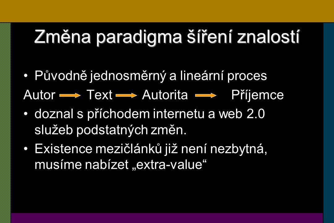 Wiki systémy Wiki systémy jsou specifický případ Web 2.0 Wiki jsou fenomén posledních let –Wiki je označení webů (nebo obecněji hypertextových dokumentů), které umožňují uživatelům přidávat obsah, podobně jako v internetových diskusích, ale navíc jim také umožňují měnit stávající obsah Charakteristiky Wiki –JEDNODUCHOST –OTEVŘENOST –HYPERTEXTOVOST –AKTUÁLNOST/SPRÁVNOST/ OPRAVITELNOST –AUTOMATIZOVATELNOST