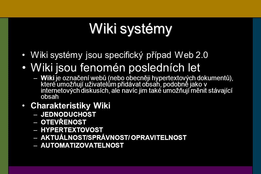 """Wikipedia Princip Úspěch (rozšíření) Proč funguje – joy of use Wikipedie mění společnost –Zpřístupnila encyklopedické znalosti masám –Rozšiřuje základnu společně sdílených hodnot názorů a postojů –Wikipedie vyvíjí tlak na změnu pedagogického procesu a myšlení s větším důrazem na aplikaci znalostí než jen jejich pouhé vyhledání Wikipedie je nejviditelnějším výsledkem nového fenoménu """"Gift economy"""