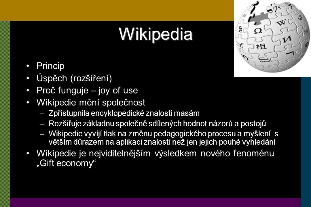 Wikipedia – základní fakta Velikost –Jazykové mutace prozrazují úroveň informační společnosti –Střední doba zdvojnásobení počtu článků 346 dní – exponenciální růst