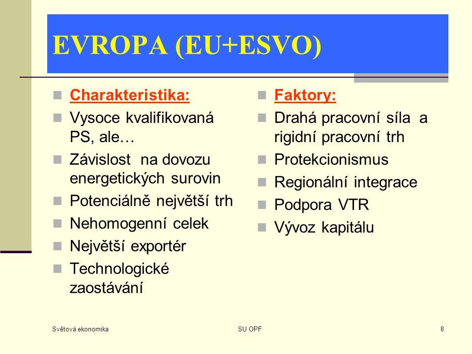 Světová ekonomika SU OPF8 EVROPA (EU+ESVO) Charakteristika: Vysoce kvalifikovaná PS, ale… Závislost na dovozu energetických surovin Potenciálně největ