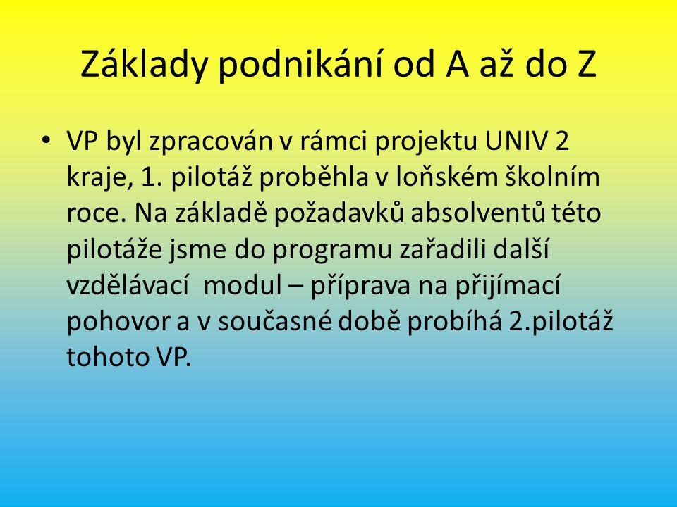 Základy podnikání od A až do Z VP byl zpracován v rámci projektu UNIV 2 kraje, 1.