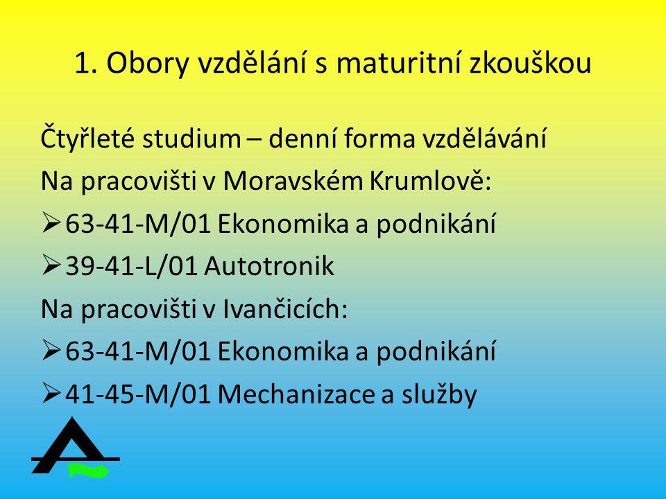 1. Obory vzdělání s maturitní zkouškou Čtyřleté studium – denní forma vzdělávání Na pracovišti v Moravském Krumlově:  63-41-M/01 Ekonomika a podnikán